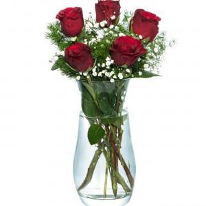 5 Red Roses in Vase-1