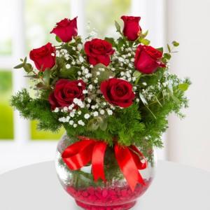 7 Red Roses in Aquarium Vase