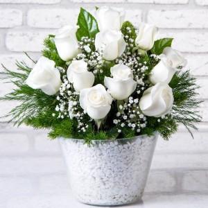Garden of Love White Rose Arrangement-1