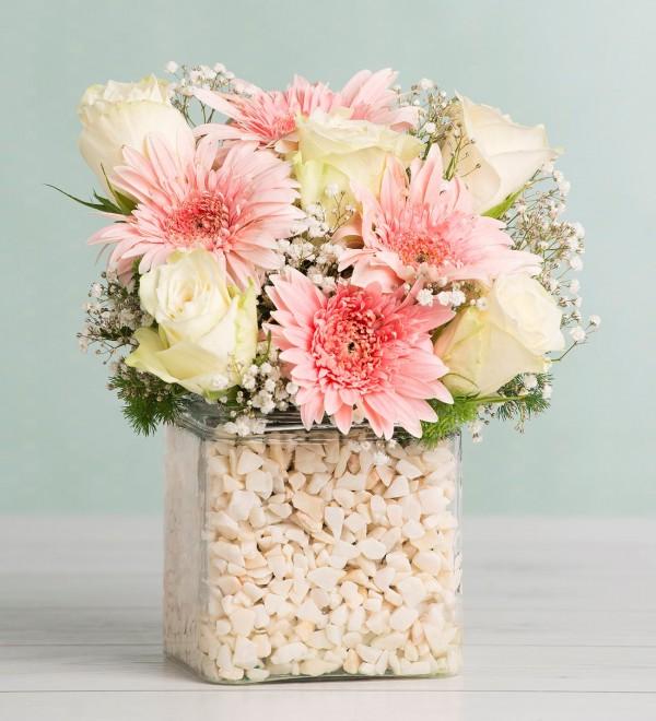 Gerbera and White Rose Arrangement